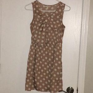 Tan and white polka dot dress